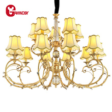 European Style Chandelier Post Modern Pendant Lamp With High Quality Copper Fabric Home Decoration Natural Lighting