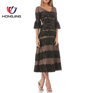 V Neck Bell Sleeve Lace Midi Dress Embroidered mesh fabrication-