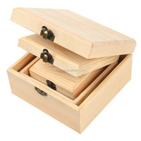 set of 3 plain color unfinished cheap wood box