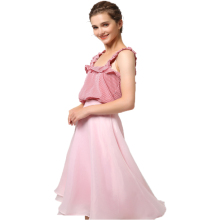 Fashion checked tank top pleated skirt pink suits for women