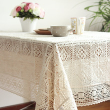 100% Cotton Crochet hook Hotel White Banquet Wedding Table Cloth