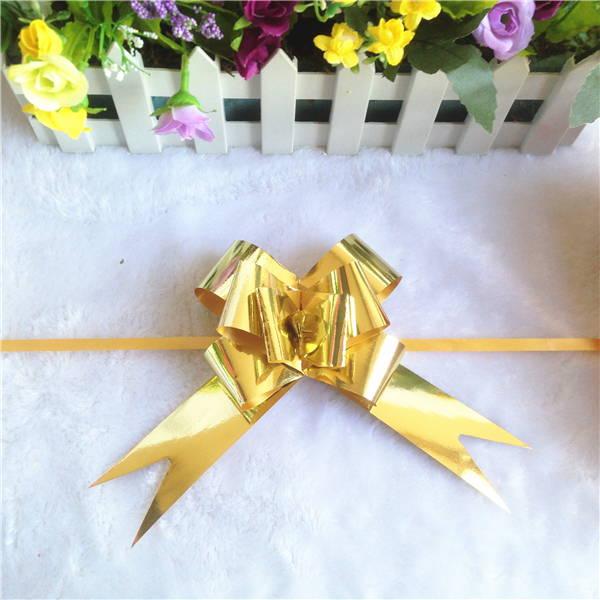 Hot sale gold gift butterfly magic metallic ribbon bows