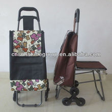 2013Popular Design Stair Climbing Folding Shopping Trolley with Seat