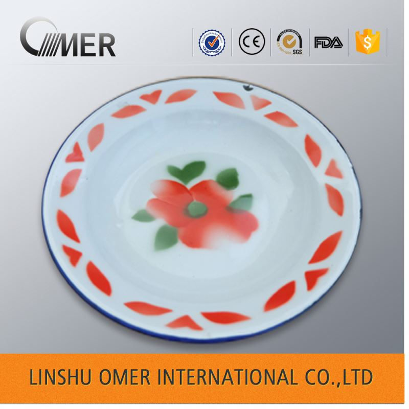 cheap white customized handmade enamel plate