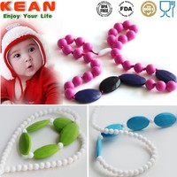 Hot selling non-toxic food grade silicone plastic bead necklace for kids