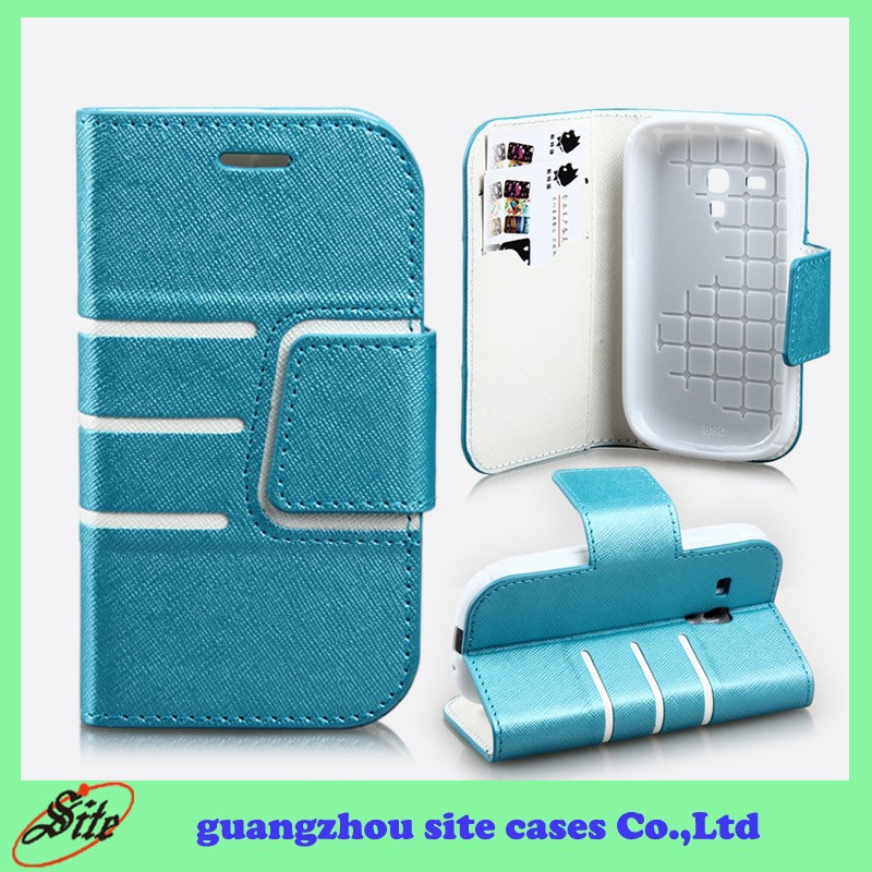 PU leather Stand custom phone case for Samsung Galaxy S3 mini case with card holder
