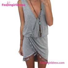 Grey Deep V-neck High Thigh Slit Up Bodycon Casual Dress Designs