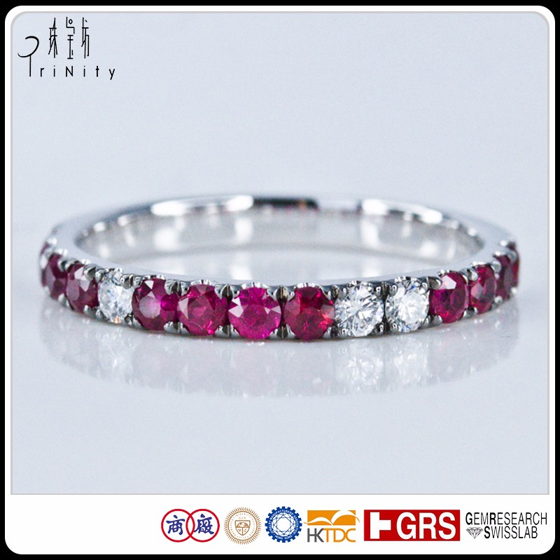 Art Deco Half Around Eternity Band Ring White Diamond with Ruby Gem Ring in 18K Black Gold Jewelry