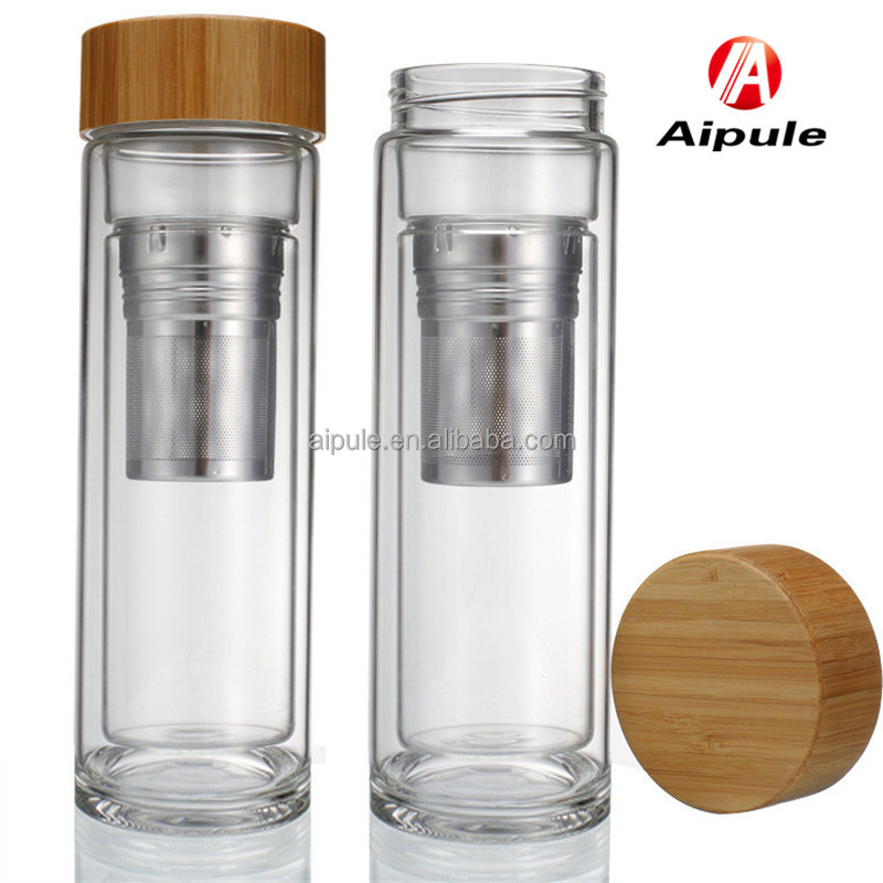 Eco-friendly glass sports filter fruit infuser portable wooden lid water bottle with silicone sleeve couver holder wholesale