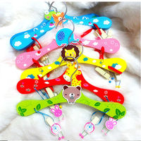 HOT Childrens Clothes Hangers Baby Pants Clip Cute Wooden Cartoon Hangers Non Slip Firm Durable