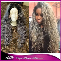 New 7A quality 1b/gray brazilian virgin hair silver grey ombre human hair loose curly front lace wig