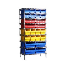 Chrome wire shelving with plastic storage bin Bin shelving Cheap wire shelving