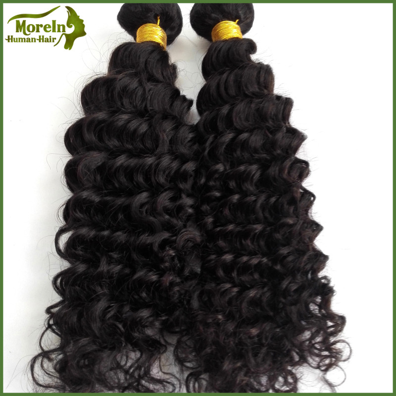 No shedding tangle free brazilian human tight curly hair sew in weave