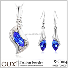OUXI Wedding jewelry sets hanging style earrings and necklace S-20104