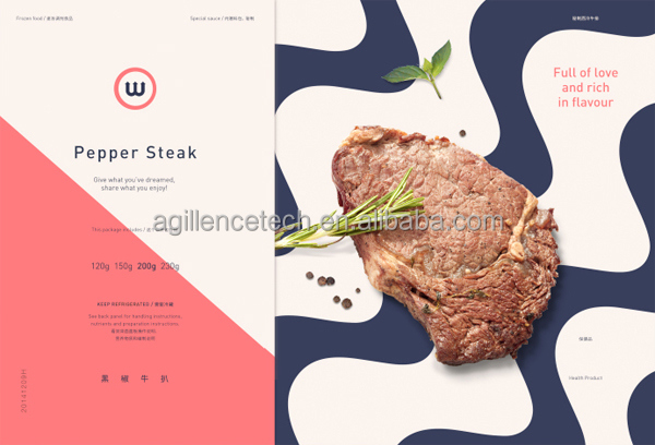 2016 Popular Market Black Pepper Steak Beef Packaging Food Grade Cardboard Boxes/Small Latest Design Steak Boxes