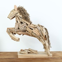 Hand Made Driftwood Jumping Horse Art Sculpture on Stand