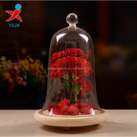 handmade borosilicate glass dome / bell shaped glass cake cover with wooden base