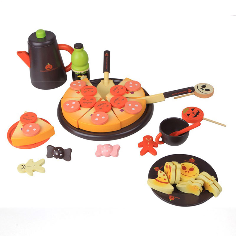DIY Model 3+ Children Kids Mystical Halloween Early Educational Classic Toy Pretend Play Kitchen kids food wooden kitchen set
