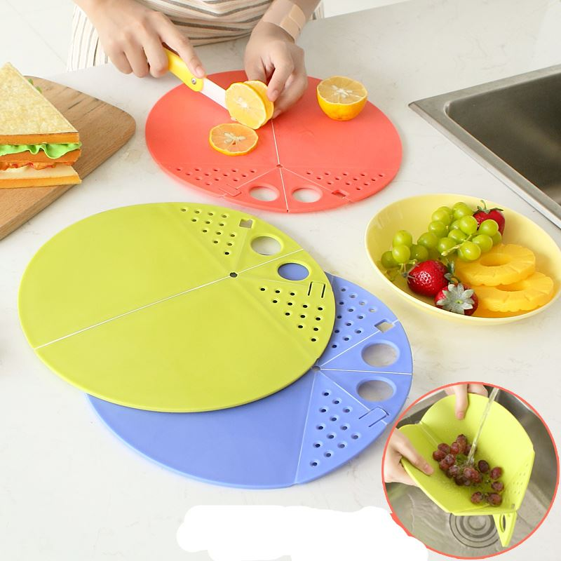 2 In 1 Kitchen foldable cutting board mat can be draining Chopping Boards cooking tools