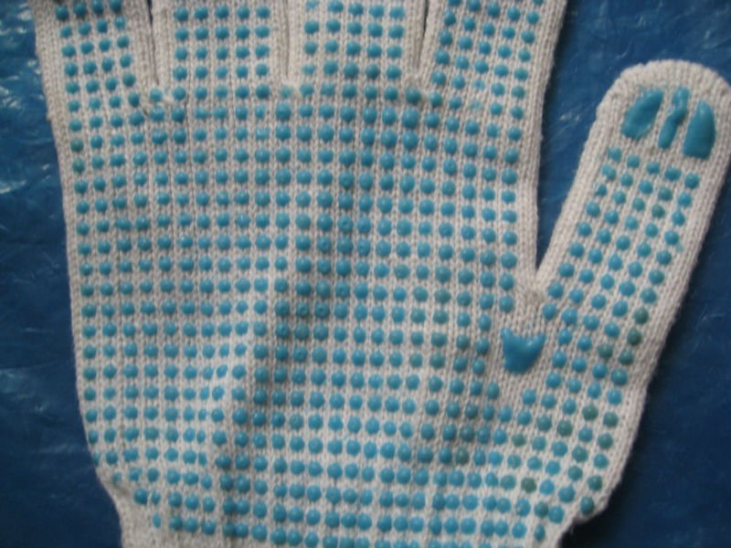 red 10 gauge /7gauge cotton pvc dotted working glove