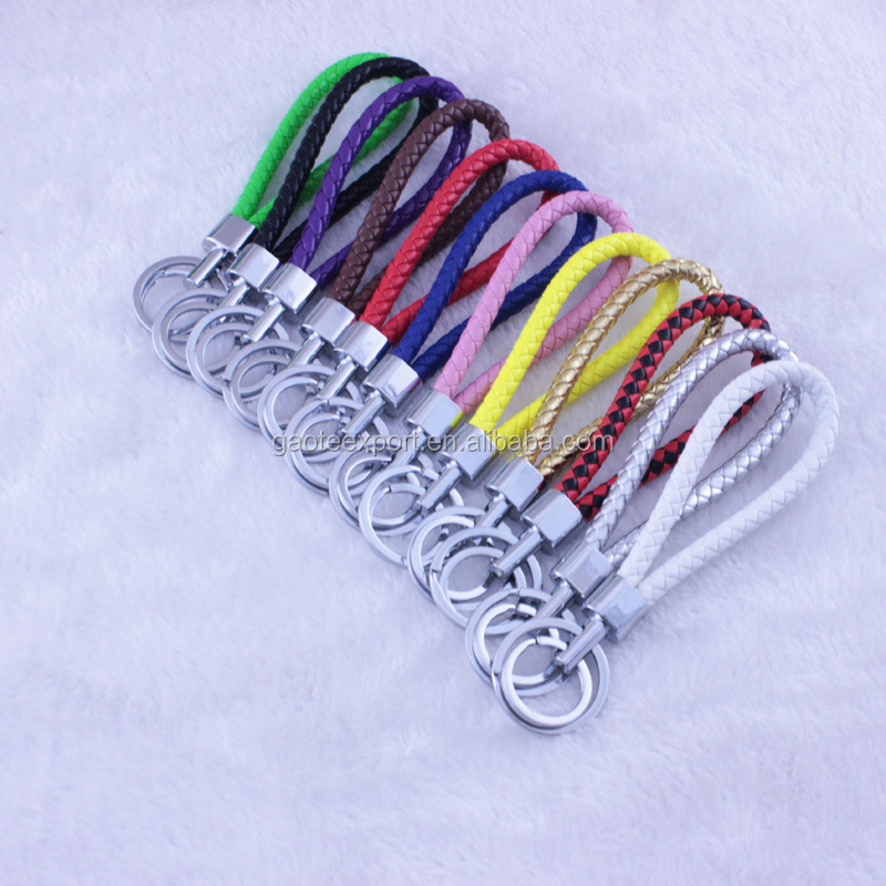 PU Leather Braided Woven Rope Double Rings Keychain, Key ring