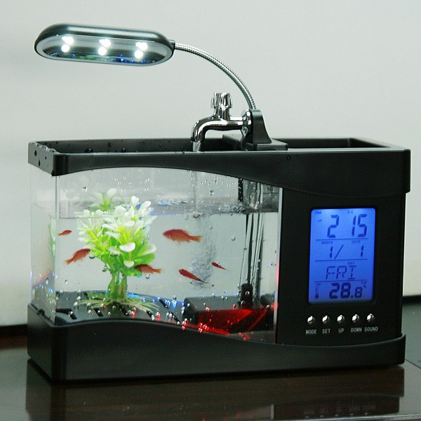 Desktop usb mini fish tank aquarium with running water