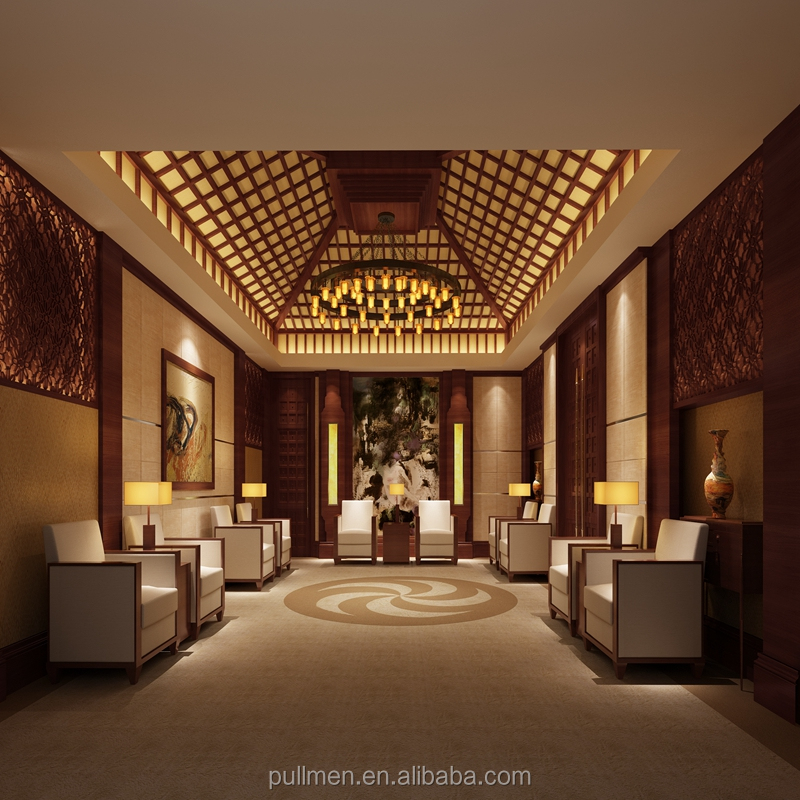 hotel lobby furnitures chairs tables sofa wood carving living room