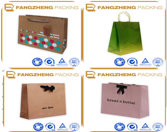 High quality Custom made Printed kraft Paper bag for shopping