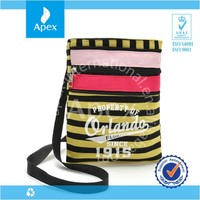 stripe zipper long strap shoulder tote bag