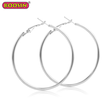 Silver plate big shiny round hoop earring simple design fashion earring