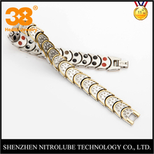 2017 new design jewelry wholesale gold plated magnetic health bracelet jewelry mens christmas gift jewelry set