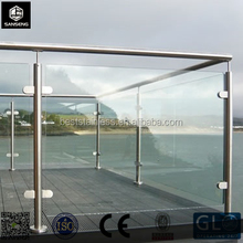 2'' Pipe Handrail Balcony/Terrace Stainless Steel Glass Railing Designs