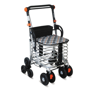 Folding Convenient Shopping Cart with basket and backrest for disabled orderly