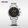 WEIDE top brand new fashion silver stainless steel jewelry watch black dial analog japan movement quartz watch sr626sw 30 mt wat