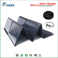 80W solar panel foldable & portable solar panel with DC&USB volt output for 12V battery/lapto/mobiles
