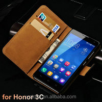 Stand Wallet Genuine Leather Case For Huawei Honor 3C Phone Bag Accessory With Card Holders New 2015 Drop Ship