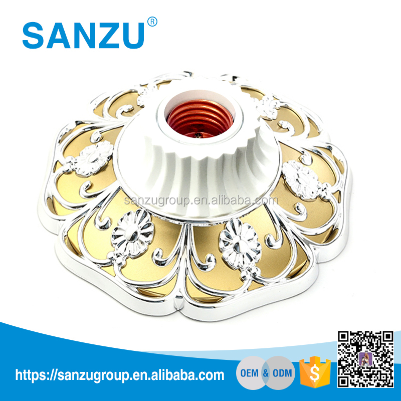 Hot sale plastic led lamp base e27 electrical ceiling rose with custom color