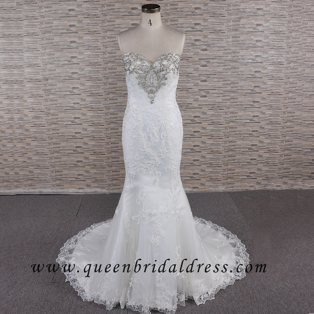 Intellectuality Strapless Sweetheart Neckline Appliques Lace Wedding Dresses
