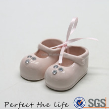Mini white ceramic shoes with diamond gift set for baby girl