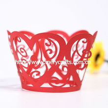 wonderful design heart flower red wedding laser cut cupcake wrappers new year gift items