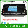12V 105Ah LiFePO4 battery for electric boat trolling motor