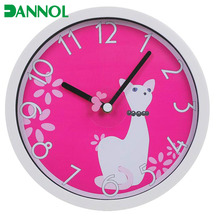 Hot online product lovely wall clock gift for girls theme with cartoon cat / cat horloge murale