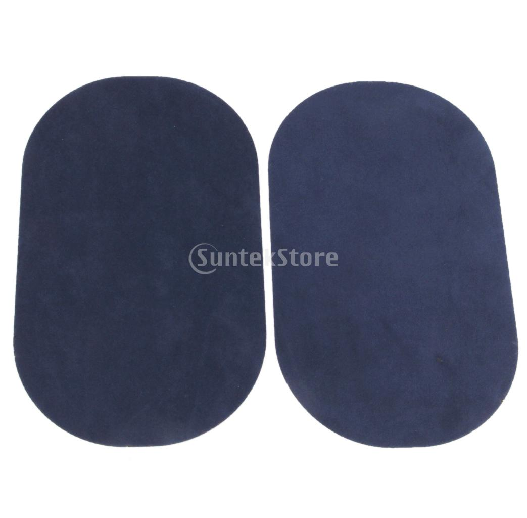 1 Pair of Oval Flocking Fabric Iron on Elbow Knee Patches Dark Blue 18x11cm Free Shipping