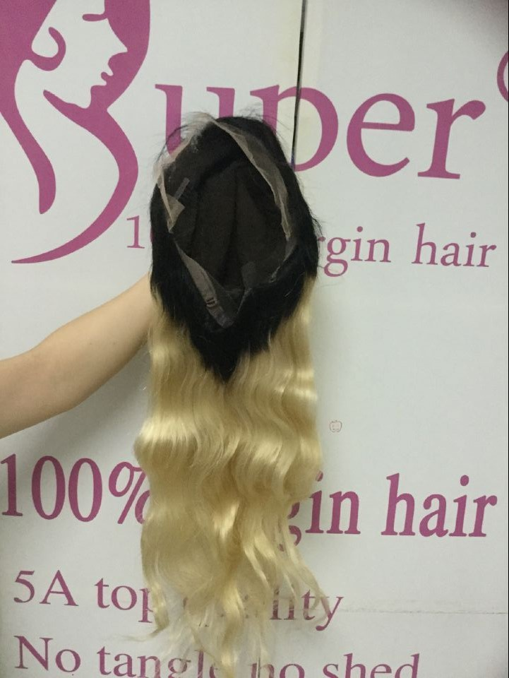 Wholesale Cambodian Human Hair 1b/613 Ombre Full Lace Wig Styles Extension