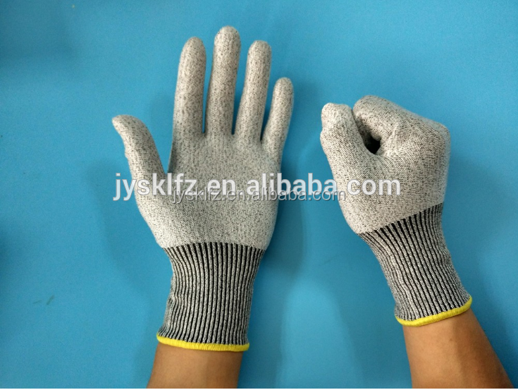 HDPE knitted PU coated cut resistant working gloves abrasion resistant gloves
