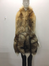 YR852A Fashion Design Real Red Fox Fur Shawl With Tails Natural Fur Cape