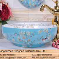 China traditional famille rose bathroom ceramic small hand wash basins