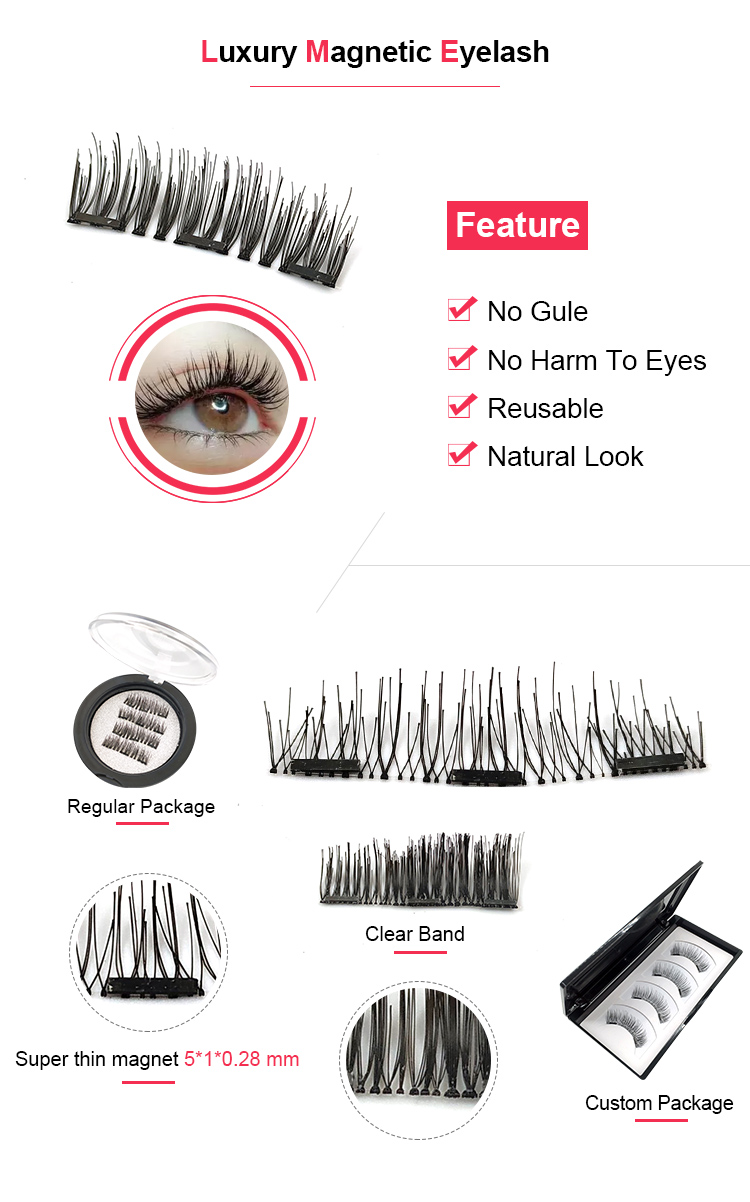3 Magnet 3D Magnetic Eyelashes Magnet Lashes Thicker Reusable False Eyelashes Handmade No Glue Eye Lashes