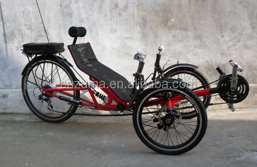 three wheels electric folding recumbent bicycle trike