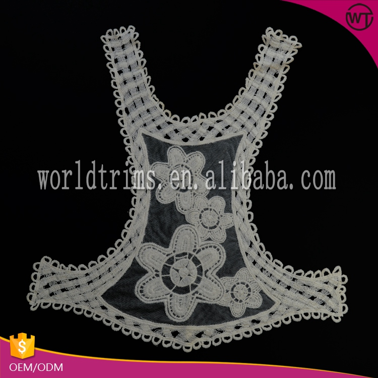 Factory price newest design perfect neck lace appliques ladies blouse neck models